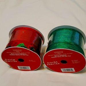 2 Spools Green/Red Ribbon